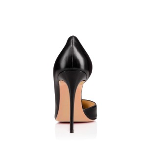 Leila Black Rivets Dorsay Stiletto Heel Pumps