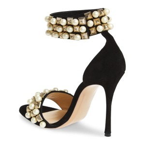 Leila Black Pearl Decorated Stiletto Heel Sandals