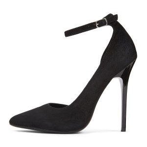 Black Ankle Strap Heels Suede Pointy Toe D'orsay Pumos for Office Lady