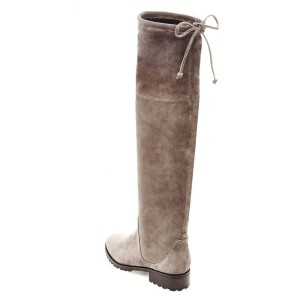 Taupe Boots Round Toe Low Heel Back Laced Suede Knee High Boots