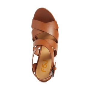 Women's Brown Open Toe Buckle Chunky Heel Sandals