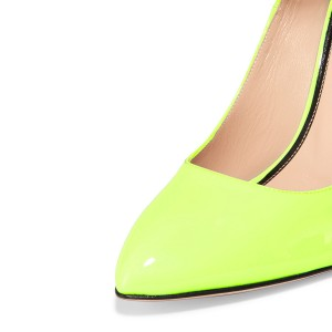 Women's Light Yellow Patent Leather Ankle Strap Heels Pumps Shoes