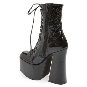 Black Textured Patent Leather Lace up Chunky Heel Retro Platform Boots