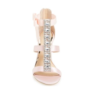 Women's Pink T-Strap Rhinestone Stiletto Heel Sandals Wedding Shoes