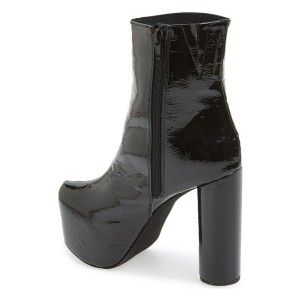 Black Chunky Heel Boots Glossy Platform Ankle Booties for Women