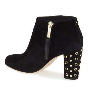 Women's Black Golden Studs Ankle Chunky Heel Boots