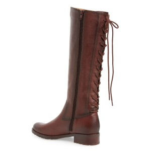 Women's Maroon Back Lace-up Flat Vintage Boots