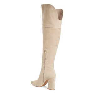Beige Long Boots Pointy Toe Chunky Heel Over-the-Knee Boots
