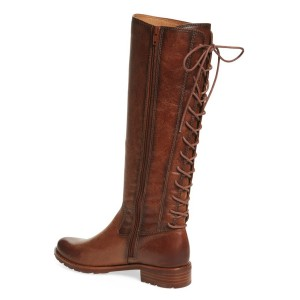 Women's Brown Back Lace-up Flat Vintage Boots