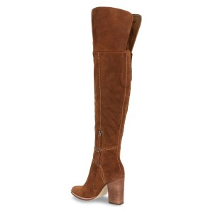 Tan Long Boots Suede Over-the-knee Chunky Heels