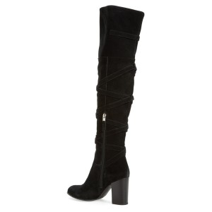 Black Chunky Heels Boots Suede Women's Over-the-knee Boots