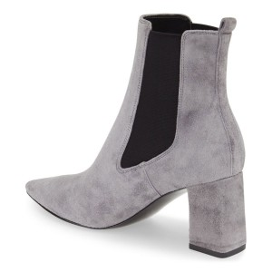 Grey Chelsea Boots Suede Chunky Heels Pointy Toe Pumps for Work