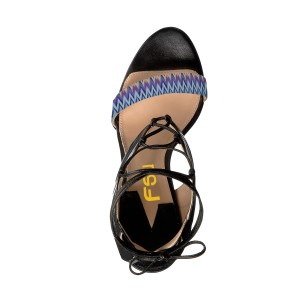 Women's Black and Blue Strappy Open Toe Ankle Strap Sandals