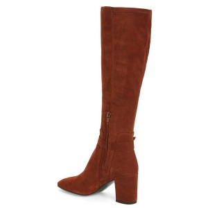 Maroon Chunky Heels Knee-high Boots Square Toe Suede Long Boots