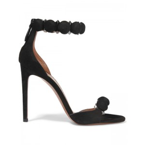 Black Ankle Strap Sandals Open Toe Suede Sexy Stiletto Heels