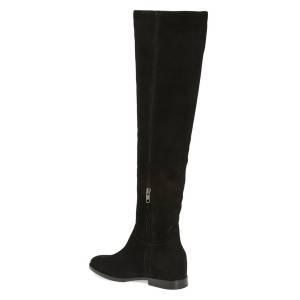 Black Long Boots Flat Knee-high Boots for Work