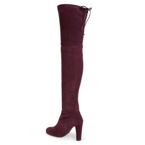 Women's Suede Burgundy Chunky Heel Boots Round Toe Thigh-high Boots