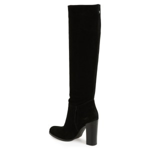 Women's Leila Black Suede Knee High Chunky Heel Boots