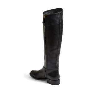 Black Riding Boots Round Toe Shiny Vegan Leather Flat Knee Boots