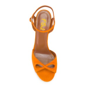 Women's Orange Ankle Strap Prom Chunky Heel Sandals