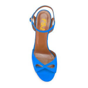 Blue Heels Ankle Strap Sandals Form Shoes for Prom