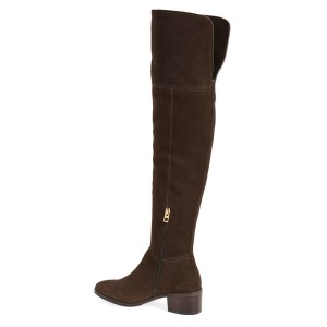 Dark Brown Long Boots Suede Block Heels Over-the-knee Boots