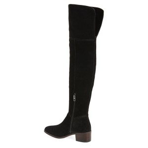 Black Chunky Heel Boots Suede Women's Over-the-knee Boots