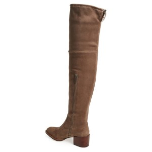 Light Brown Long Boots Chunky Heel Over-the-Knee Boots