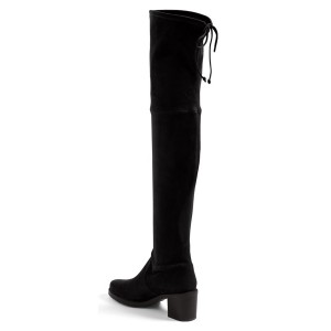 Women's Black Suede Warm Over-the-Knee Chunky Heel Boots