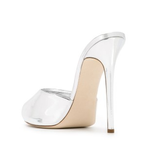 White Peep Toe Heels Stilettos Mirror Leather Mules Sandals