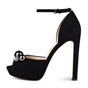 Black Ankle Strap Sandals Rhinestone Peep Toe Chunky Heels Sandals