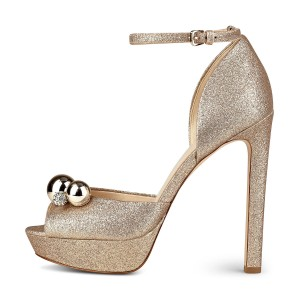 Rhinstone Decorated Golden Glitter Ankle Strap Stiletto Heel Wedding Shoes
