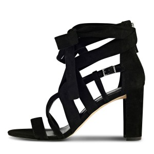Black Strappy Sandals Lace up Suede Block Heels