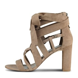 FSJ Khaki Suede Strappy Sandals Open Toe Chunky Heels Sandals