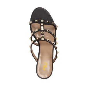 Women's Black Rivets Open Toe Chunky Heel Mule Sandals