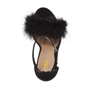 Women's Black Fluffy Feather Suede Chunky Heel Ankle Strap Sandals