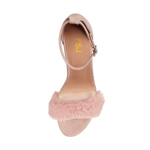 Light Pink Fur Heels Ankle Strap Open Toe Suede Chunky Heel Sandals