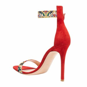 Red Floral Ankle Strap Sandals Open Toe Buckle Stiletto Heel Sandals