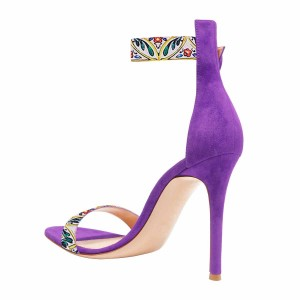 Women's Violet Floral  Stiletto Heel Ankle Strap Sandals