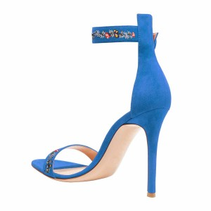 Women's Blue Flower Stiletto Heel Ankle Strap Sandals