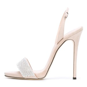 Women's Beige Crystal Decorated Ankle Strap Stiletto Heels  Sandals