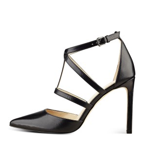 Women's Leila Black Pointed Toe Leather Formal Shoes Stiletto Heel T Strap Sandals