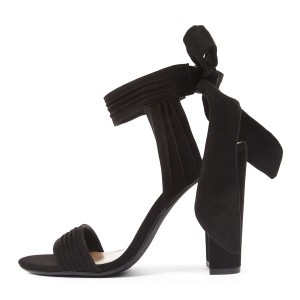 Suede Block Heel Sandals Black Open Toe High Heels with Bow