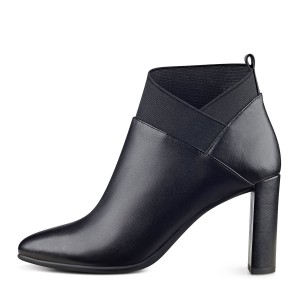 Black Chunky Heel Boots Pointy Toe Ankle Booties for Work