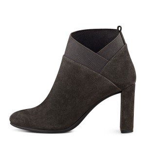 Dark Brown Chunky Heel Boots Suede Ankle Booties for Ladies