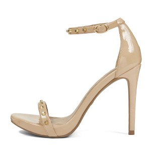 Women's Nude  Patent Leather Rivets Stiletto Heel Ankle Strap Sandals