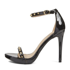 Leila Black Golden Studs Patent Leather Open Toe Stiletto Heel  Sandals