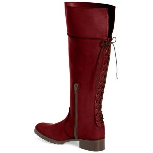 Coral Red Back Lace-up Jockey Boots
