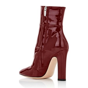 Red Chunky Heel Boots Patent-leather Ankle Booties for Work