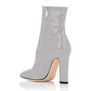 Women's Grey Patent-leather Ankle Short Booties for Work